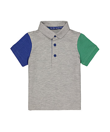 Grey Coloured Sleeve Polo Shirt