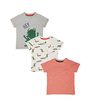 Crocodile And Red T-Shirts - 3 Pack