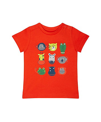 Animal Faces Orange T-Shirt