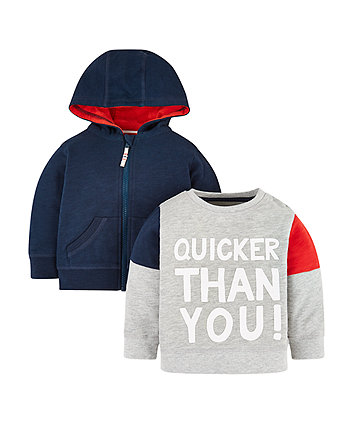Mothercare Sweat Top And Hoodie - 2 Pack