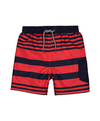 Mothercare Navy And Red Stripe Swim Shorts