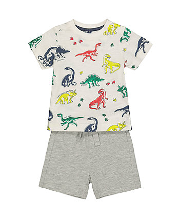 Mothercare Dinosaur T-Shirt And Grey Shorts Set