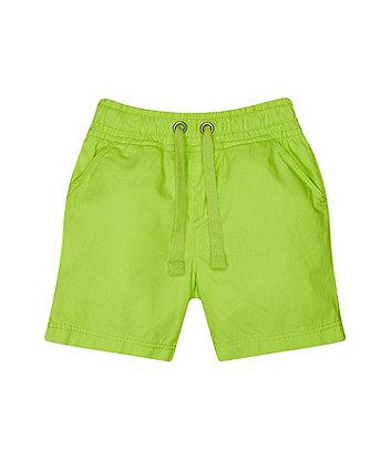 Lime Poplin Shorts