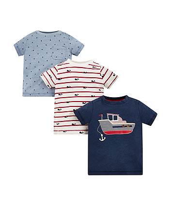 Blue Sailing Boat T-Shirt - 3 Pack