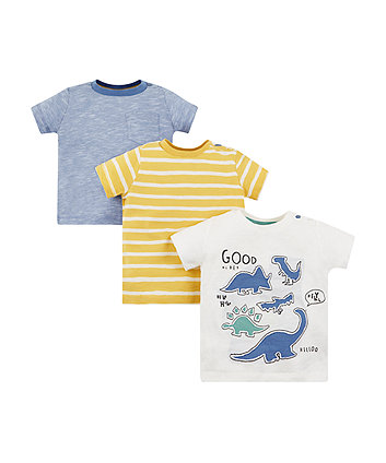 Mothercare Dinosaur And Stripe T-Shirts - 3 Pack