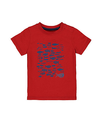 Red Fish Print T-Shirt