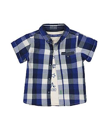 Mothercare Blue Check Shirt And Vehicle T-Shirt Set
