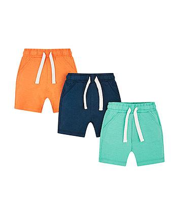 Navy, Orange And Turquoise Shorts - 3 Pack