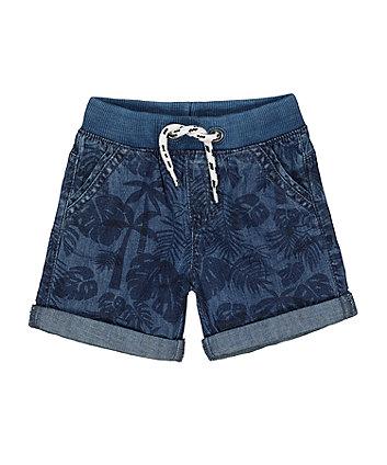 Ribbed Waist Leaf Denim Shorts