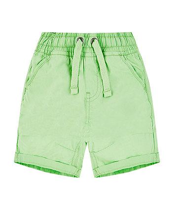 Green Poplin Shorts