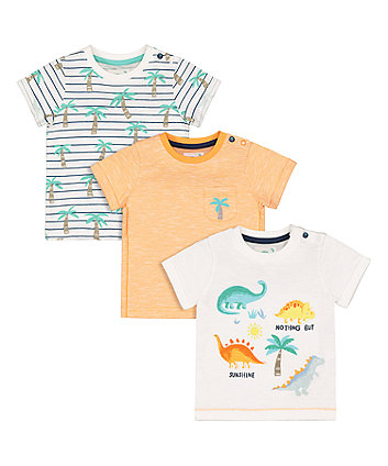 Dinosaur And Palm Tree T-Shirts - 3 Pack
