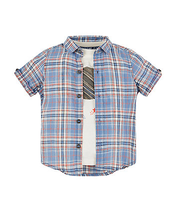 Mothercare Blue Check Shirt And Planet T-Shirt Set