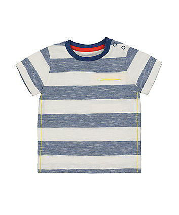 Mothercare Blue Striped Pocket T-Shirt