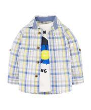 Blue Check Shirt And Captain T-Shirt Set
