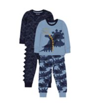 Mothercare Blue Dinosaur Pyjamas – 2 Pack