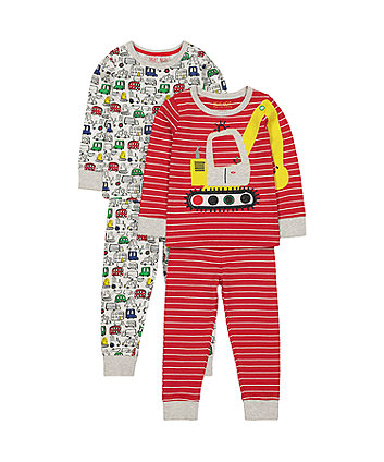 Mothercare Striped Digger Pyjamas - 2 Pack