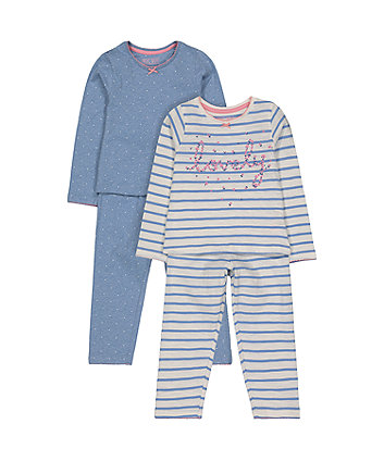 Mothercare Stripe And Spot Pyjamas - 2 Pack