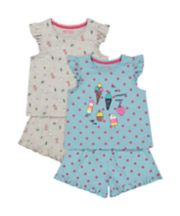 Ice Cream Shortie Pyjamas - 2 Pack