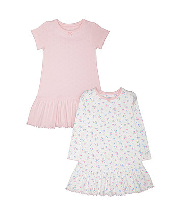 Mothercare Floral And Pointelle Nighties - 2 Pack