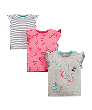Heart And Butterfly T-Shirts - 3 Pack