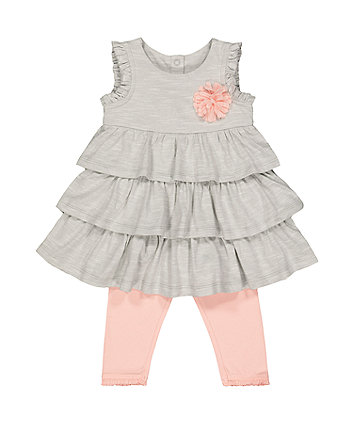 Grey Ruffle Dress And Pink Leggings Set