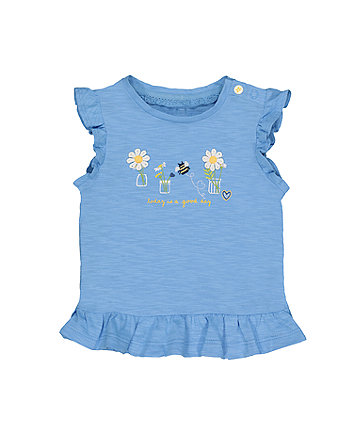Bee And Daisies Blue T-Shirt