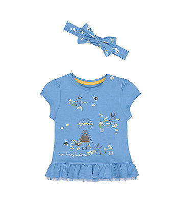 Mothercare Some Bunny Loves Me T-Shirt And Head Band Set
