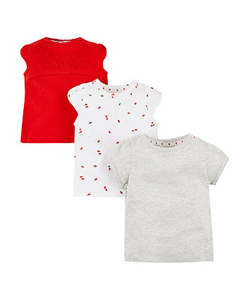 Mothercare Red, Berry And Grey T-Shirts - 3 Pack