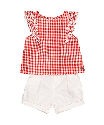 Mothercare Red Gingham Blouse And White Bloomer Shorts Set