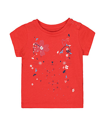 Mothercare Red Cat Floral T-Shirt