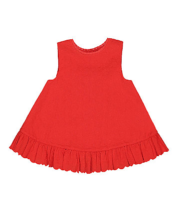 Mothercare Red Scallop Hem Broderie Blouse