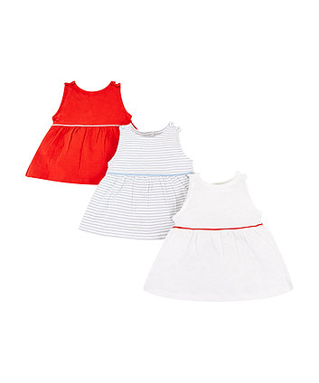 Mothercare Stripe, Red And White Vests – 3 Pack