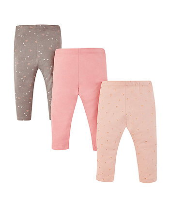 Mothercare Pink, Floral And Charcoal Heart Leggings – 3 Pack