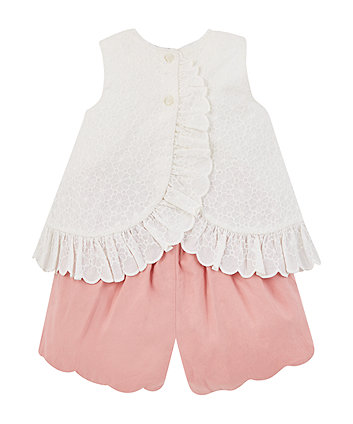 Mothercare Broderie Blouse And Shorts Set