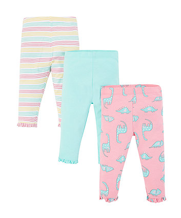 Dinosaur, Turquoise And Stripe Leggings - 3 Pack