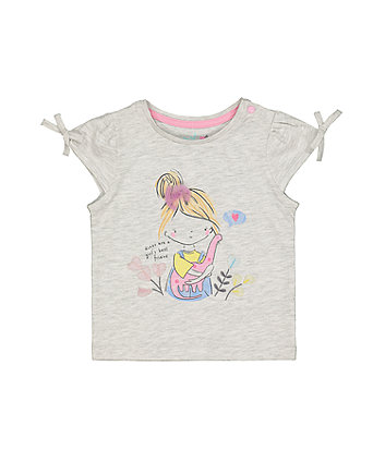 Mothercare Grey Dinosaur And Girl T-Shirt
