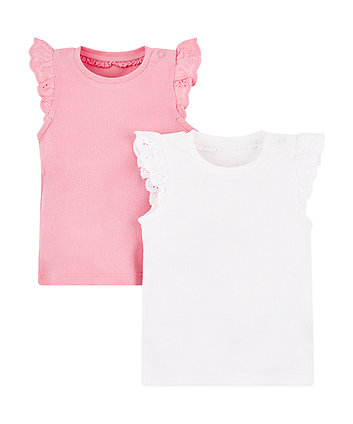 Mothercare White And Pink Rib Vests -2 Pack