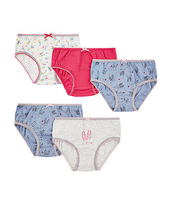 Pink Bunny Briefs - 5 Pack