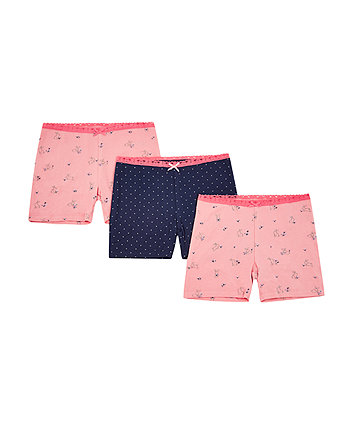 Mothercare Pink Bunny Shorts - 3 Pack
