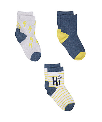 Mothercare Lightning Bolt Socks - 3 Pack