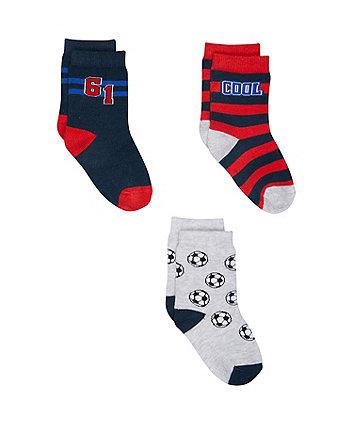Mothercare Football Socks - 3 Pack