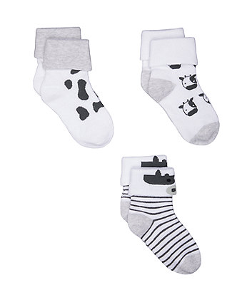 Cow Turn-Over-Top Socks - 3 Pack (Size - Newborn)