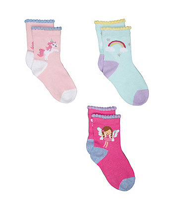 Mothercare Unicorn And Rainbow Socks - 3 Pack