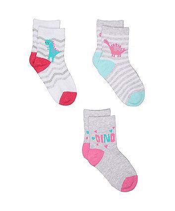 Mothercare Dinosaur Socks - 3 Pack