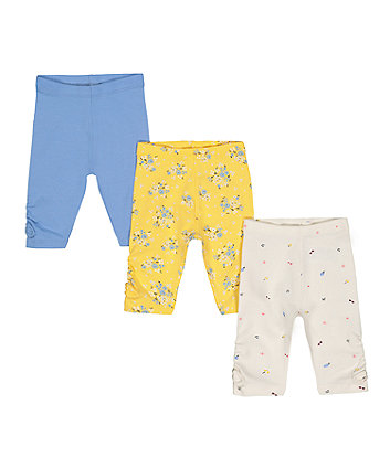 Mothercare Ditsy Floral, Heart And Blue Crop Leggings – 3 Pack