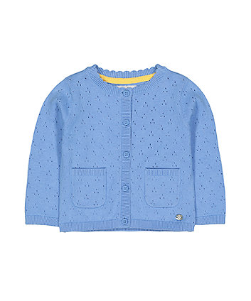Blue Pointelle Cardigan