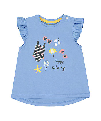 Mothercare Blue Happy Holidays T-Shirt