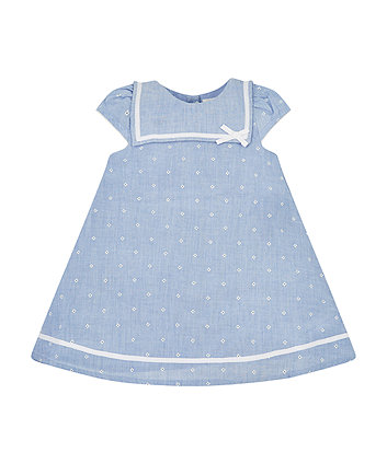 Mothercare Chambray Floral Sailor Dress