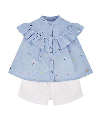 Chambray Blouse And Shorts Set