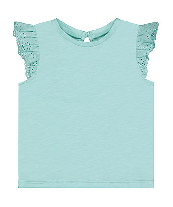 Turquoise Broderie Vest